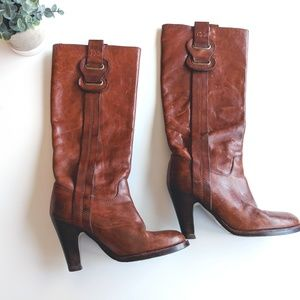 ‼️Vintage Brown Leather Knee High Boots Size 6